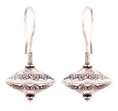Spinning Top 92.5 Sterling Silver Earrings With Engraved Design