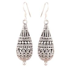 Long Tear Drop 92.5 Sterling Silver Earrings Tribal Engraved Design Single Bead Bottom