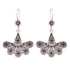 Six Petal Floral 92.5 Sterling Silver Earrings Engraved Design Earring For Women