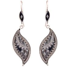 Inverted Leaf 92.5 Sterling Silver Earrings Oxidized Embossed Dots Design