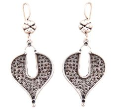 Brick Leaf 92.5 Sterling Silver Earrings Oxidized For Daily Use