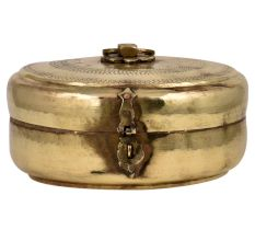 Traditional Motifs Engraved Round brass Tiffin Box With Latch