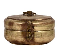Round Brass Tiffin  Box Faded Floral Design Handle And Latch