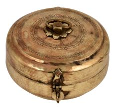 Round Brass Tiffin Box Tribal Design On lid with Handle And lid