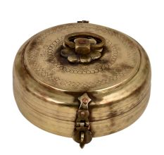 Hand Engraved Brass Round Brass Tiffin Box With Handle And Latch