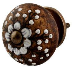 Antique White Floral Round Ceramic Cabinet Knobs