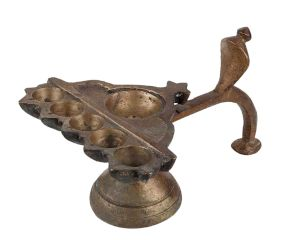 Brass Oil Lamp  Diya Six Cavity Cobra Head Diya Stand