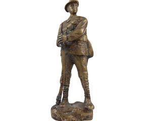 Brass Military Solder Standing Statue