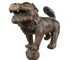 Brass Foo Dog Lion Playing Ball Statue Home Décor