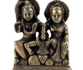 Brass Statue Of Shiv Parvati and Ganesha Sitting Murti Idol