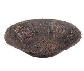 Copper Bowl Engraved Floral Scalloped Edges Geometric Base Fruit Ball