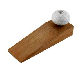 White Crackle Ceramic Wooden Door Stopper