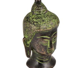 Brass Buddha Head Statue With Eyes Closed Green Patina Finish