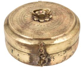 Round Brass Tiffin Box Engraved With Delicate Design With Handle And Latch