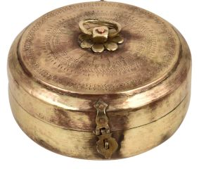 Traditional Round Tiffin Box Diamond leafy Design Engraved Lid And Latch