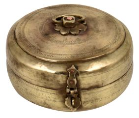 Round Brass Tiffin Box With Handle And Latch For Home Decoration