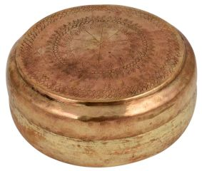 Tribal Brass Round Tiffin Box Gift Showpiece