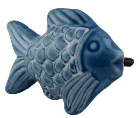 Blue Cute Fish Shape Ceramic Decor pull knobs