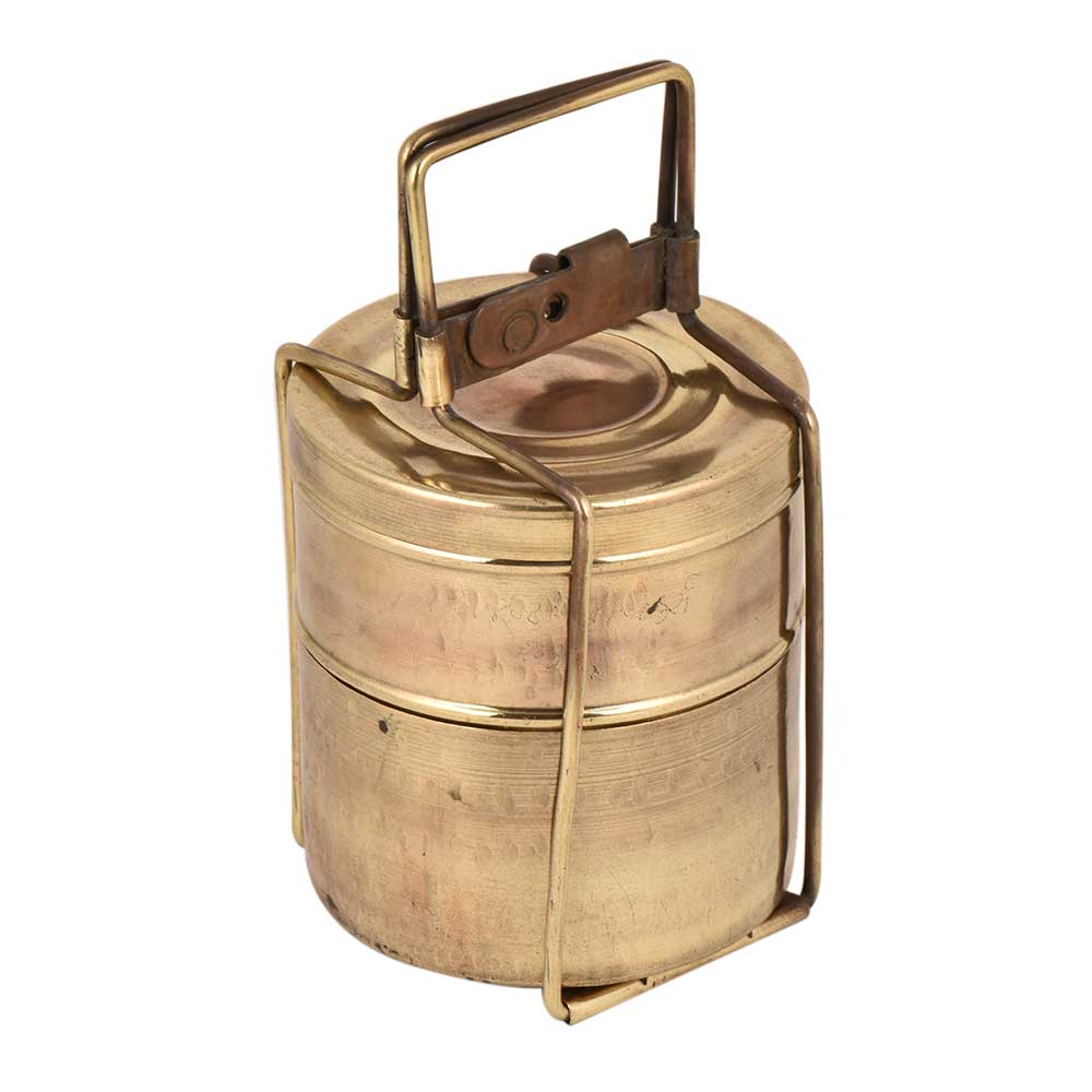 Brass Two Tier Tiffin Box Round Shape Food Container Carrier