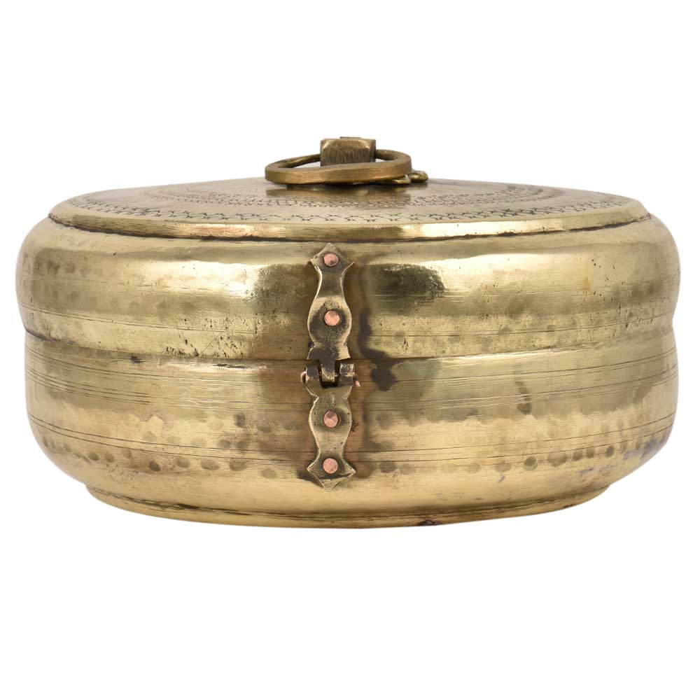 Golden Round Brass Tiffin Box Decorative lid With Handle And Latch