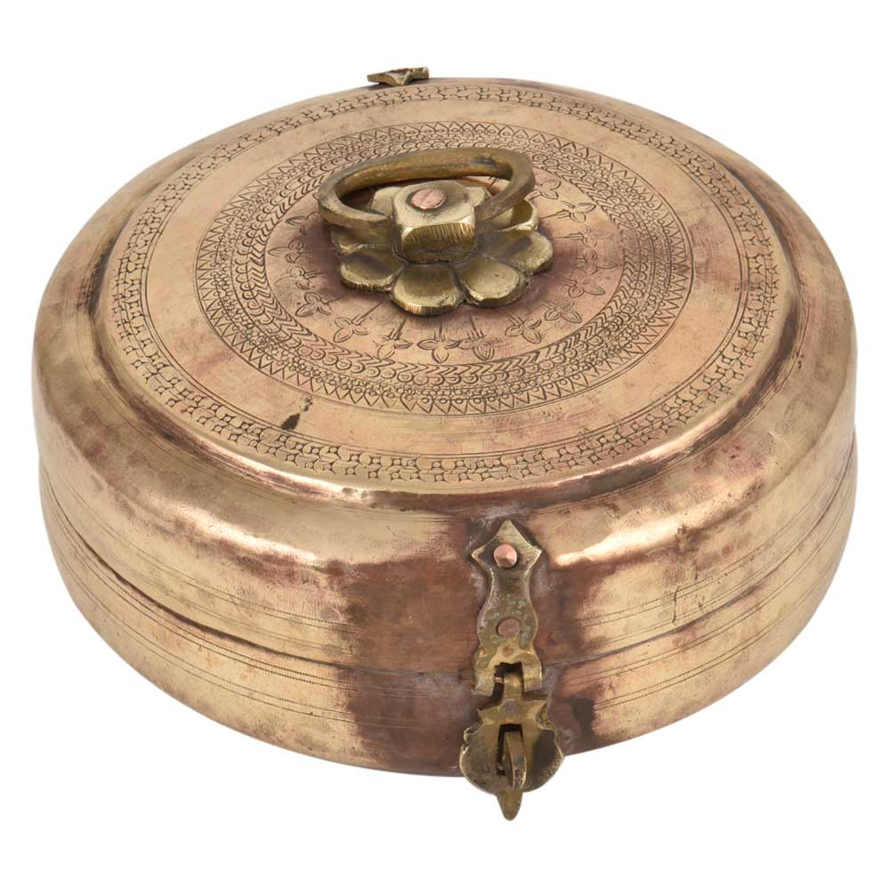 Brass Round Tiffin Box With Floral Geometric Engravings Handle Latch