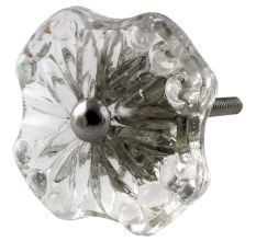 Clear Square Glass Flower Cabinet Knob