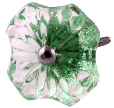 Mint Green Square Glass Flower Cabinet Knobs