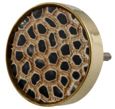 Round Animal Print Horn Brass Cabinet Knobs