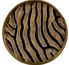 Round Zebra Print Horn Brass Drawer Knobs