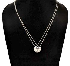 92.5 Sterling Sliver Broken Heart Best Friend Pendant 2 Pieces Necklace