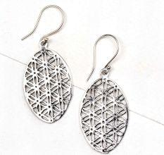 92.5 Sterling Silver Earrings Oval Sacred Flower Of Life Design Earrings