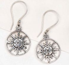 Sun Design Symbols 92.5 Sterling Silver Earrings With Circular Border