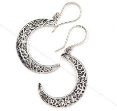 92.5 Sterling Silver Earrings  Crescent Moon  Filigree Dangle earring