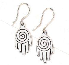 92.5 Sterling silver Earrings Small Spiral design Hand Charm Earrings
