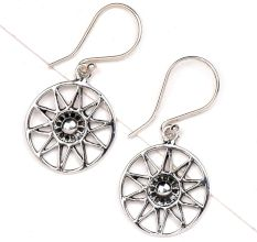 Starry Floral Delight 92.5 Sterling silver Earrings In Delicate Round Frame
