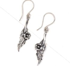 Leaf Flower 92.5 Sterling Silver Earrings Daily Wear For women