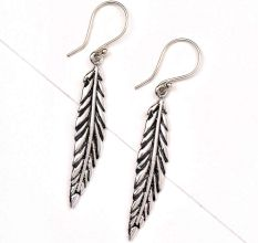 Long Indian leaf 92.6 Sterling silver Earrings For Daily Office Wear