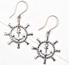 92.5 Sterling Silver Anchor With Ship Wheel Earrings
