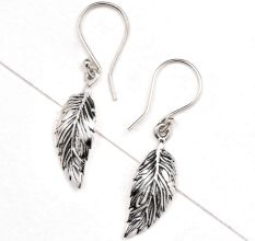 Small Leaf Engraved  92.5 Sterling Silver Earrings For Daily Wear