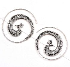 Open Circle Peacock 92.5 Sterling Silver Earrings