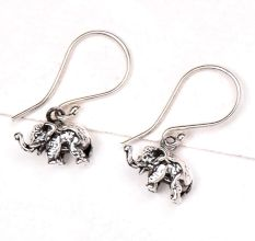 Elephant Charm 92.5 Sterling Silver Earrings Long Hook For Kids And Women