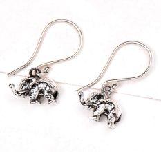 Elephant Charm 92.5 Sterling Silver Earrings Long Hook For Kids And Women