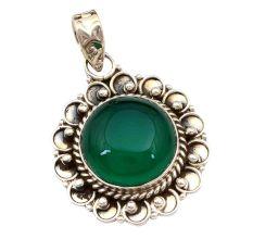 Green Onyx Gemstone 92.5 Sterling Silver Handmade Round Male Female Pendant