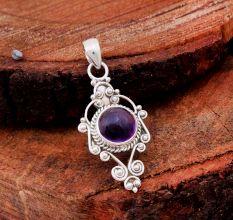 Amethyst Gemstone Round 92.5 Sterling Silver Antique Handmade Pendant