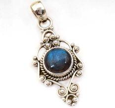 Labradorite Gemstone Round 92.5 Sterling Silver Antique Handmade Boho Pendant