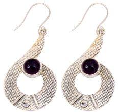 Amethyst Gemstone 92.5 Sterling Silver Antique Handmade Boho Female Dangle Earrings.