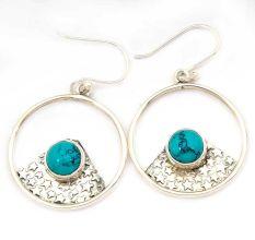 Turquoise  Natural Gemstone 92.5 Sterling Silver Antique Handmade Boho Female Dangle Earrings.