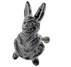 Antique White Rabbit Iron Dresser Knob