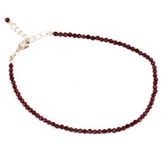 Natural Faceted Garnet Bead Necklace For Women