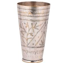 Brass Lassi Glass Cup Layers Of Dotted Border and Leaves Geometric Design